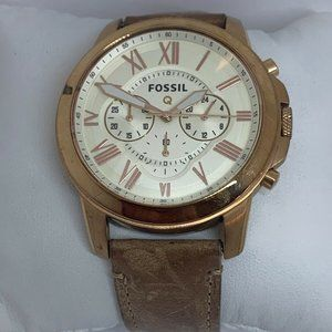 Fossil Men's Leather Analog Cream Dial Watch E328